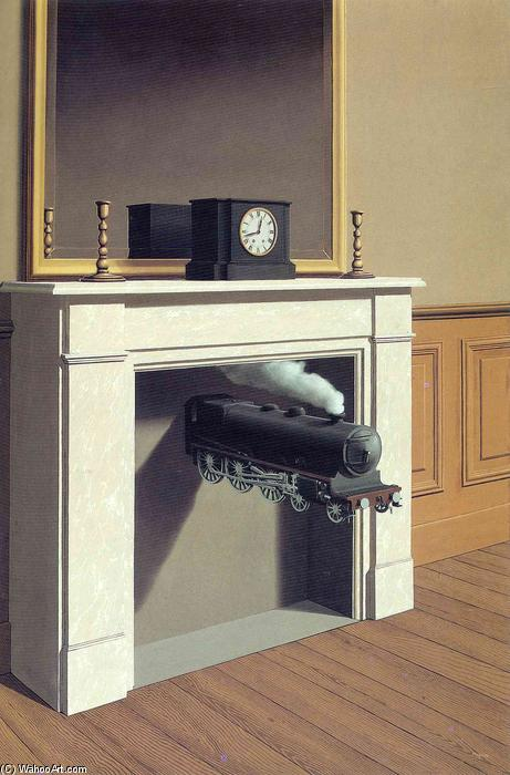 famous painting Zeit gebannt of Rene Magritte