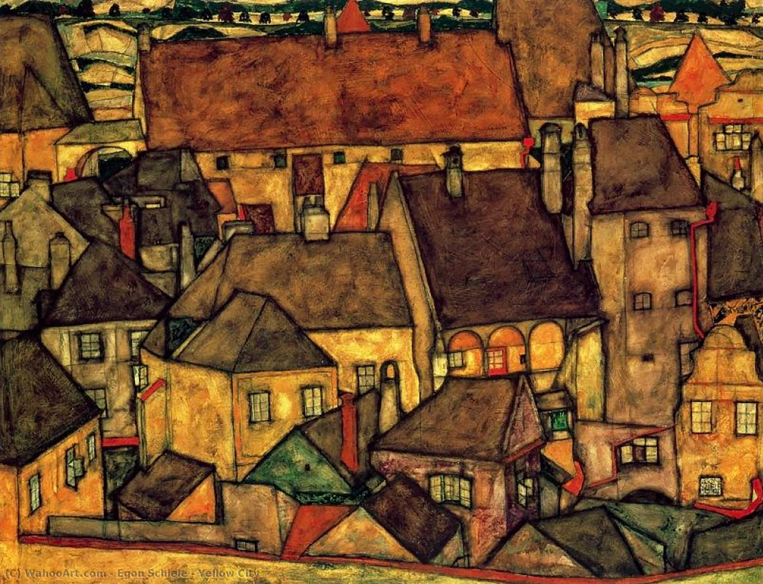 famous painting Gelbe Stadt of Egon Schiele