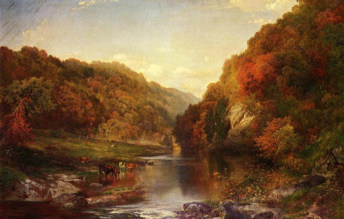 famous painting Herbst auf dem Wissahickon of Thomas Moran