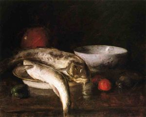 William Merritt Chase - stillleben mit fische