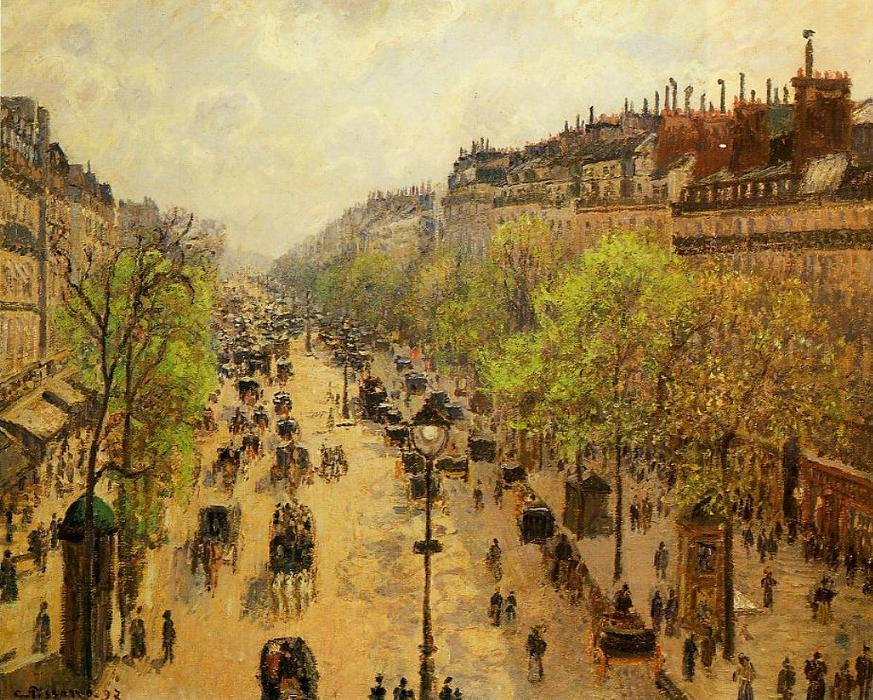 famous painting Boulevard Montmartre Frühling 1   of Camille Pissarro