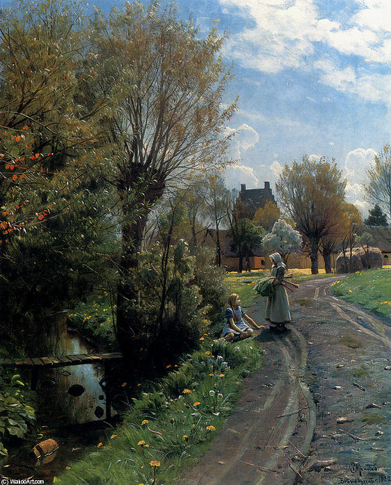 famous painting durch den fluss , Brondbyvester of Peder Mork Monsted