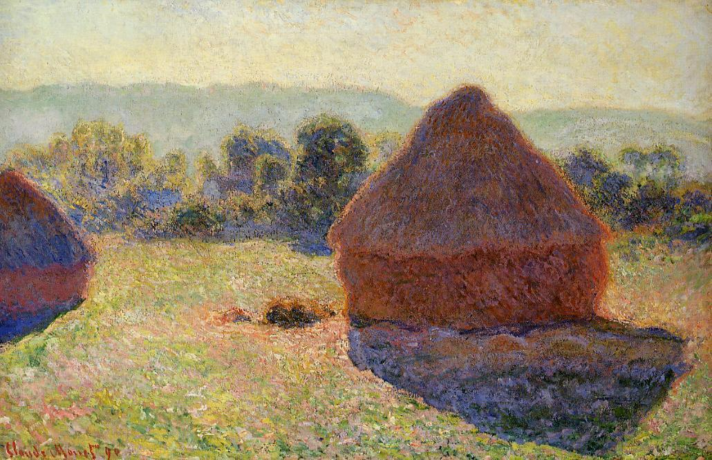 famous painting Grainstacks im Sonnenlicht Mittag  of Claude Monet