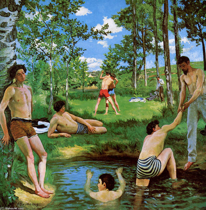 famous painting Badegäste Sommer  Bühne  of Jean Frederic Bazille