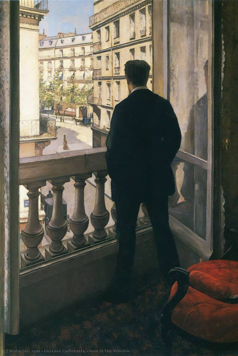 famous painting mann am fenster of Gustave Caillebotte