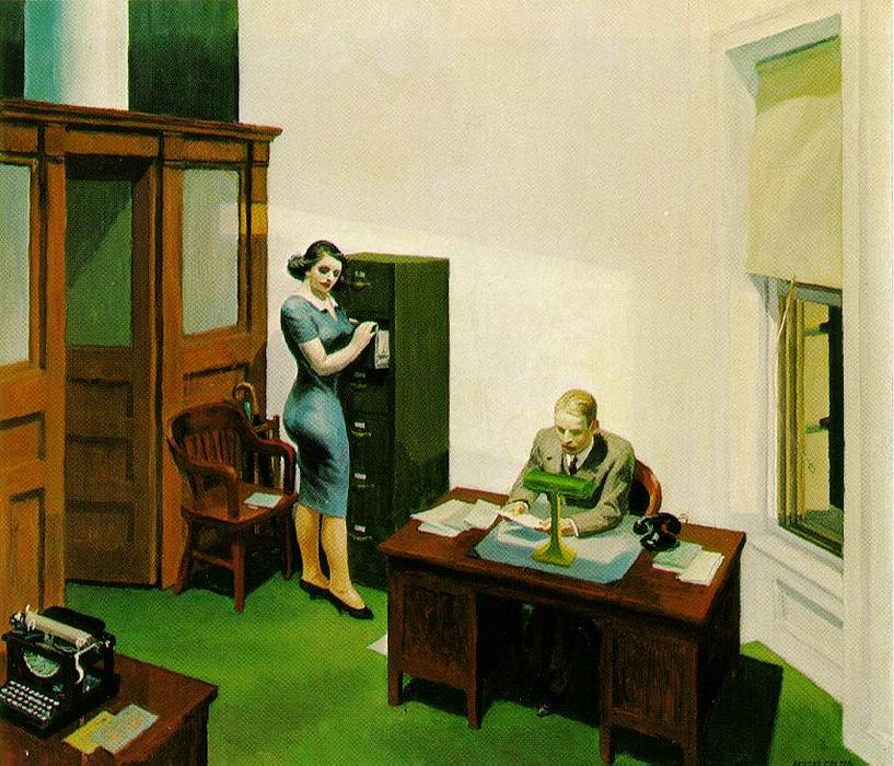 famous painting büro in der nacht of Edward Hopper