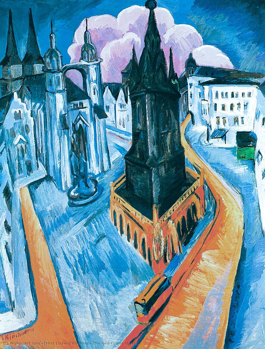 famous painting der rote turm in halle of Ernst Ludwig Kirchner