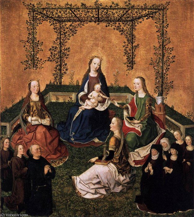 famous painting und das Kind mit drei Heiligen of Master Of The Life Of The Virgin
