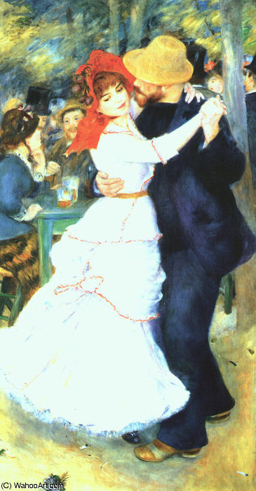 famous painting tanz bei bougival , öl auf leinwand , museum of fin of Pierre-Auguste Renoir