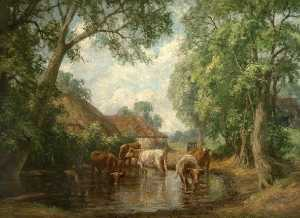 George Leon Little - kühe in ein landschaft